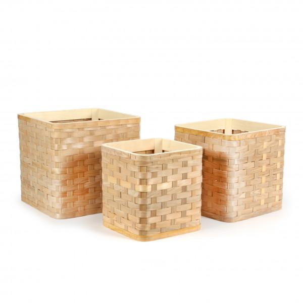Box, Rattan natur,S/3-36x33/31 x30/26x27cm quadratisch