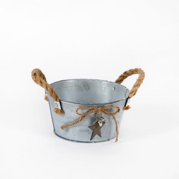 Schale mit Jutegriff und Stern, Metall 18x9x14 cm, natur