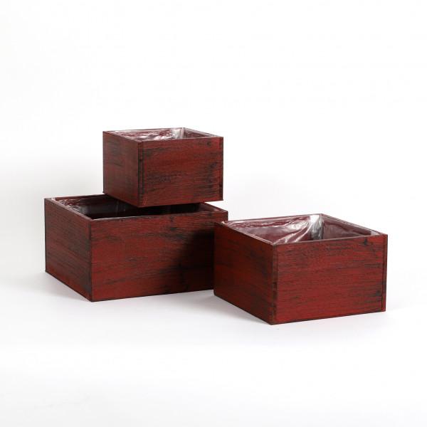 Holzkiste quadratisch, rot-schwarz