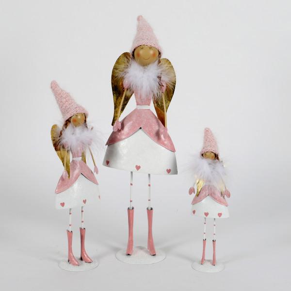 Metall Engel Johanna Flügel in gold weiß-rosa