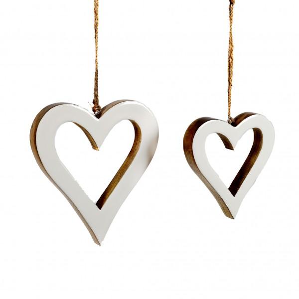 Herz Bianco Holz,weiss emailliert