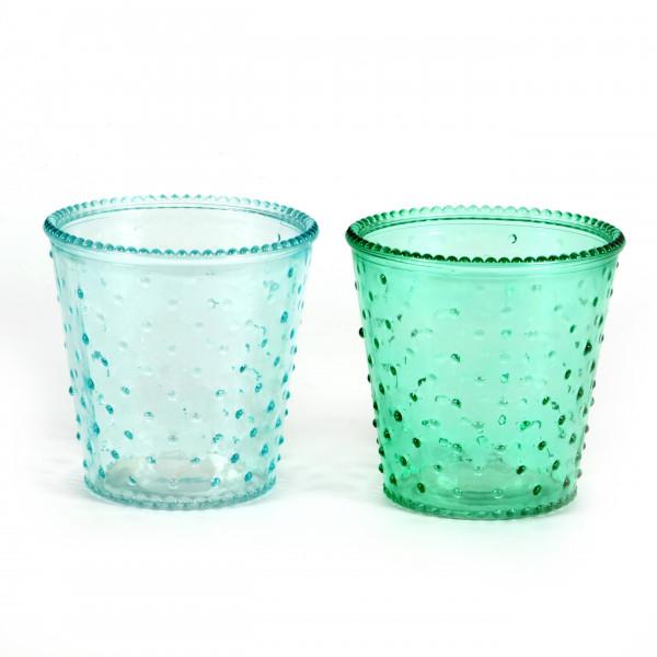 Glastopf dots 13,5 x 13,5 cm mint/hellblau