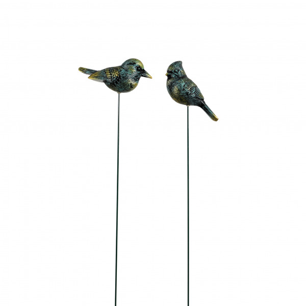 Gartenstecker Vogel, 2 Mod.sortiert grün-antik, 14x5x65cm Kunststoff