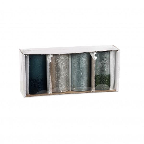 Kerze Rustic Calla Nova Tray x 4 St. 110/60mm titan,petrol,grün,smargd