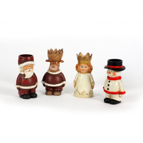 Poly Figuren Weihnachten als Teelich-Halter,4Mod.,H15cm