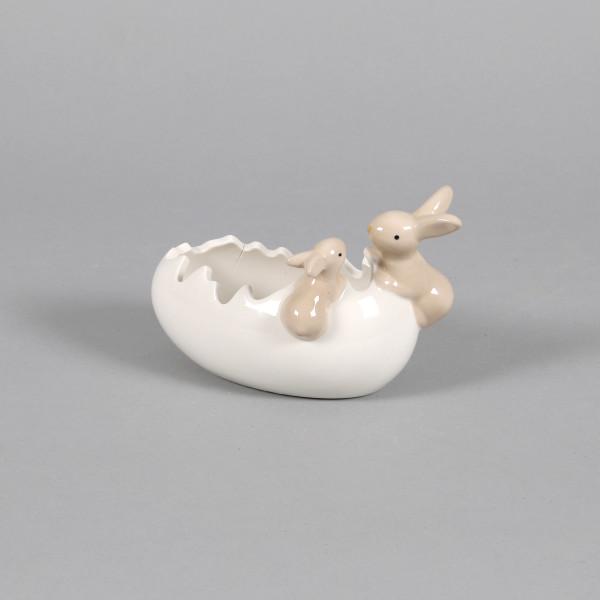 Keramik Ei liegend, gebrochen m. 2 Hasen weiß glasiert, 16x9x10cm