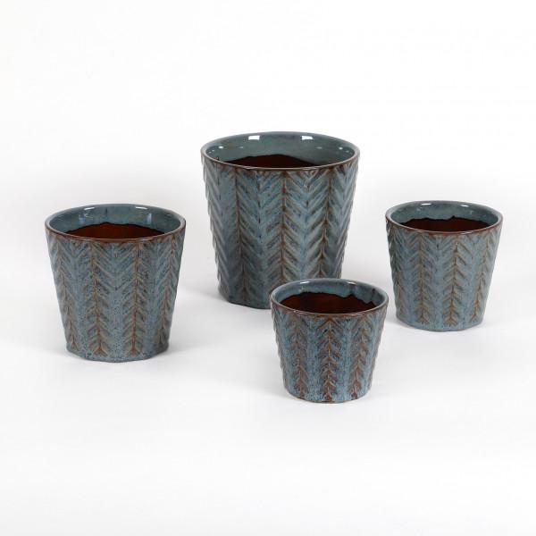 Keramik Topf Morten konisch m.Dekor Reaktionsglasur blau