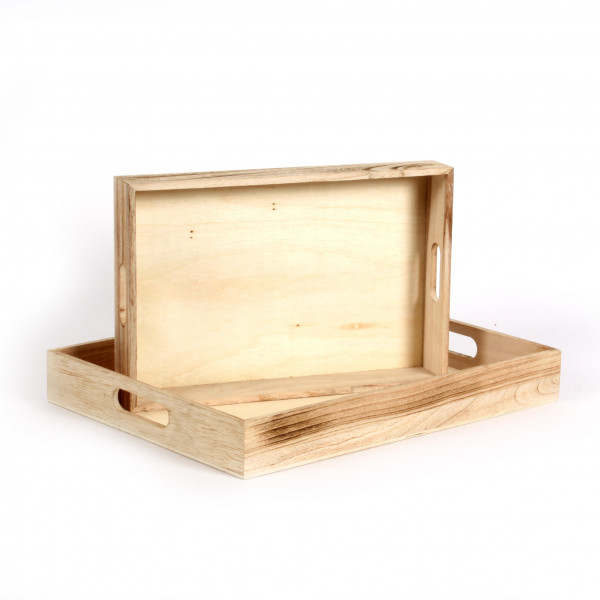 Holz-Tablett m.Griffen, 40x30+ 32x22cm,geflammt natur
