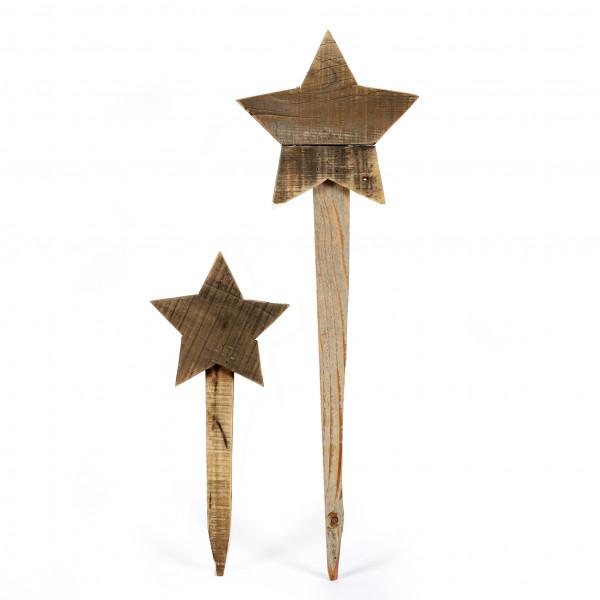 Holz-Stern, rustikal am Stab, natur