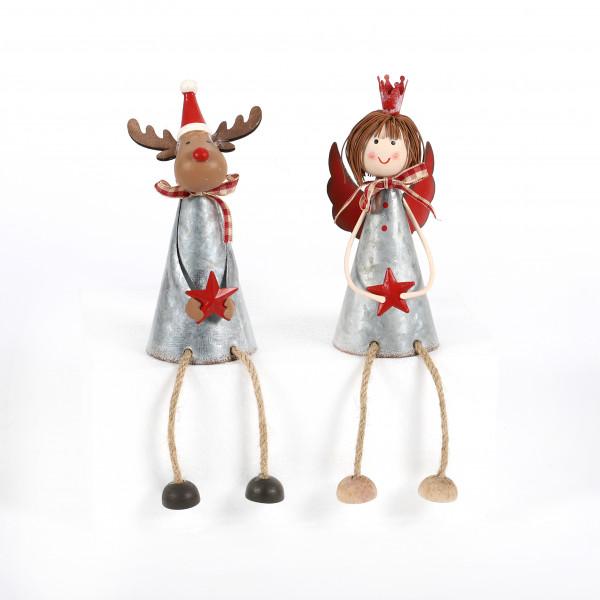 Kantenhocker Elch und Engel Metall grau rot, ca.13x7 cm, 2 Modelle