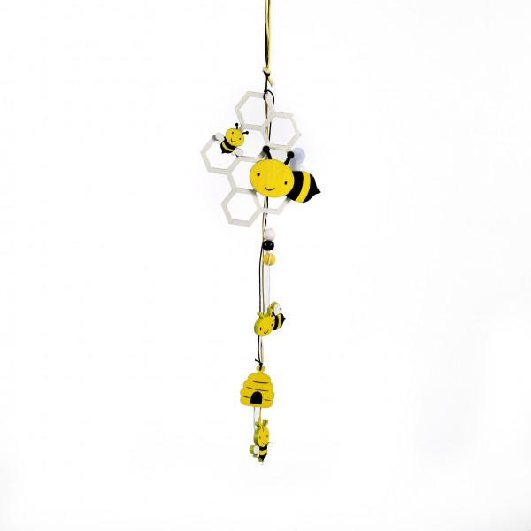 Dekohänger Bienenwabe Holz, schwarz-gelb, ca. 30 cm