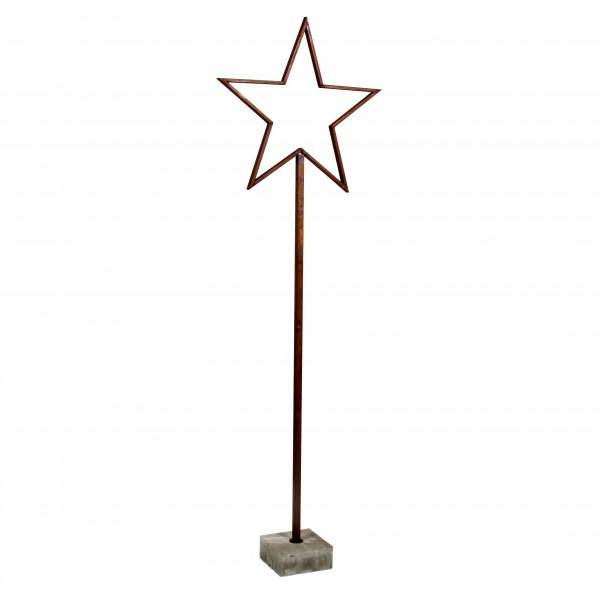Metall Stern Astro mit Beton fuß 160 cm Rost