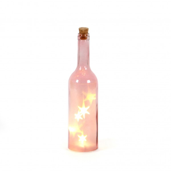 Glasflasche mit 5 LED Stars D7 cm x H30cm rosa,Timer