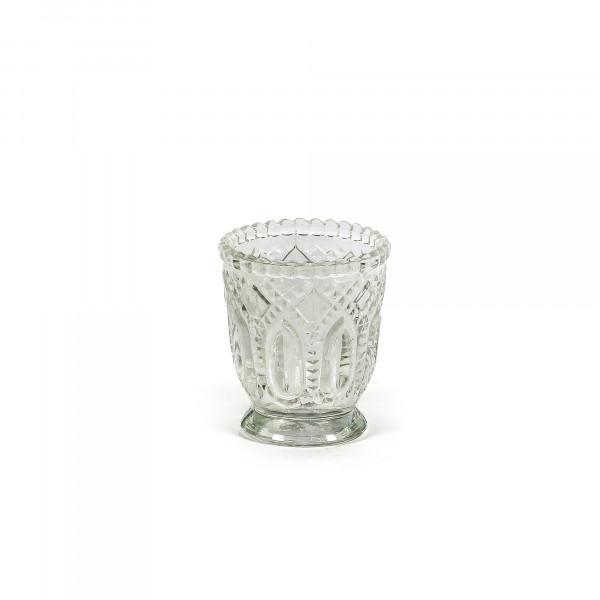 Teelichtglas Ornament 7 cmx 7 cm klar