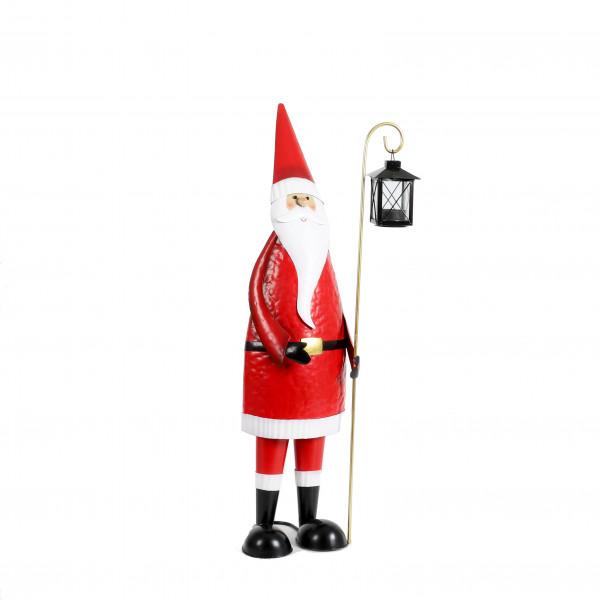 Metall - Nikolaus stehend mit Laterne rot-weiß, 18x17xh69 cm