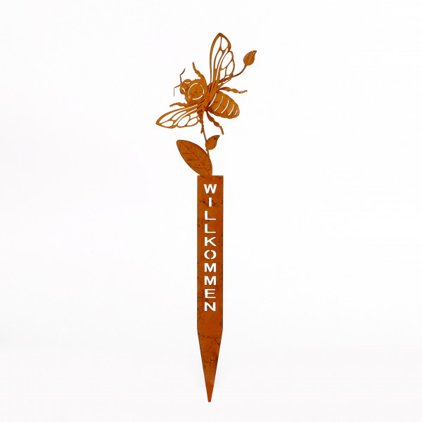 Biene am Stab, Metall rost 16x47,5 cm