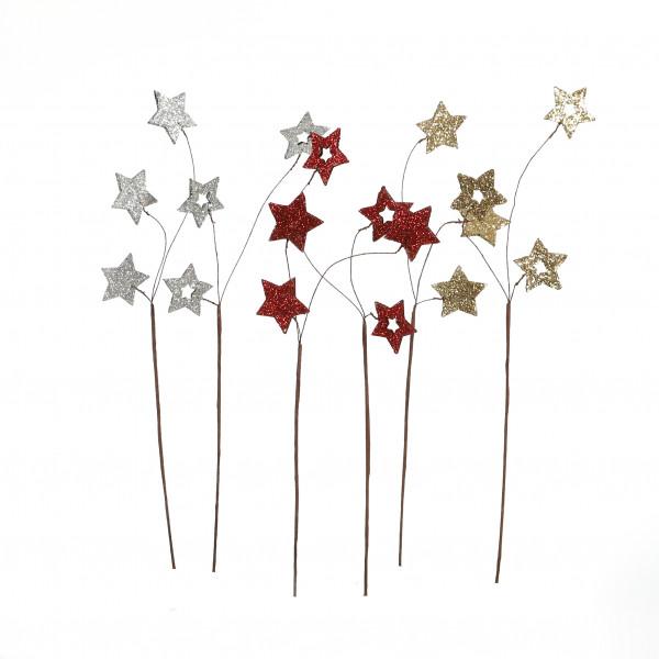 Blumenstecker Stern Kunststoff beglittert, 4x30 cm, 2 Modelle