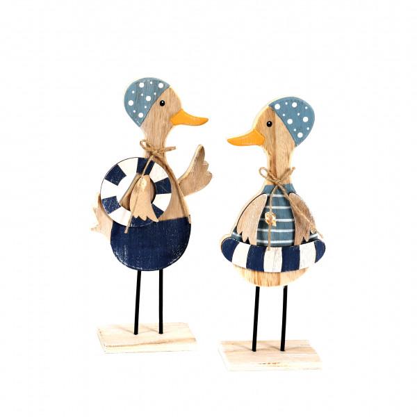 Ente, Holz, mit Badekappe/Schwimmring 2 Mod.,blau-weiß, 10x18x6 cm