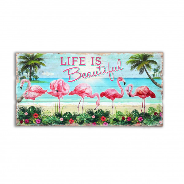Wandbild Flamingo-Familie , 40x80x1.8 xm