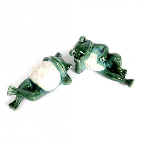 Keramik Frosch Frederik liegend 2Mod. sort. grün/weiß glasiert, 15x9x8cm