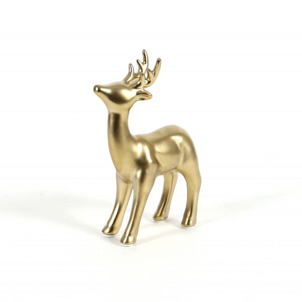 Keramik Hirsch Bambini stehend 10x4xh.16cm, champagner-gold glasiert
