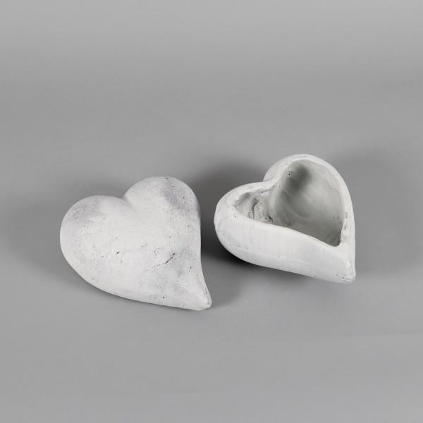 Keramik,Pflanz oder Deko Herz 22x20cm: weiß