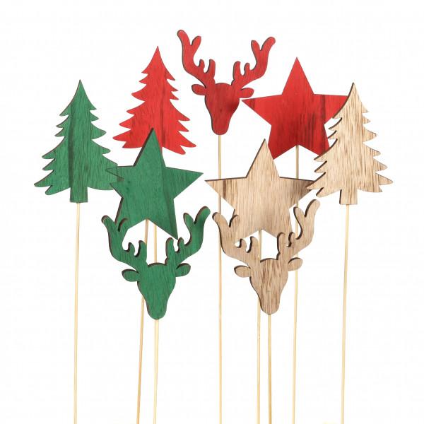 Holz Stecker Weihnachten Stern, Baum,Hirsch 3Mod. ca 7,9,10cm