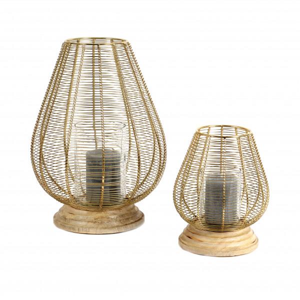 Windlicht Purna Metall-Holz, gold-natur