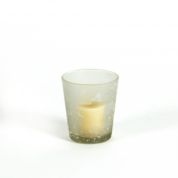 Glaswindlicht mit Stern Design D 9cm H 10 cm weiß