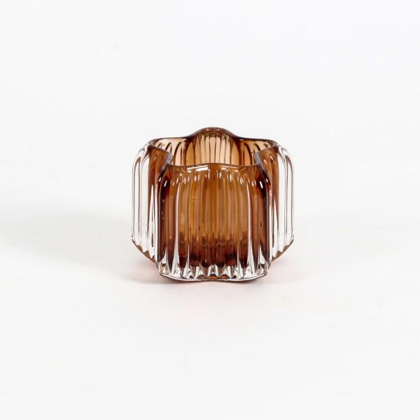 Teelichtglas Stars 10,3x10,3x8 cm amber