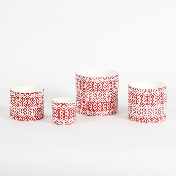 Keramik-Topf Natale 10x8,5cm m.Ornament,rot/weiß