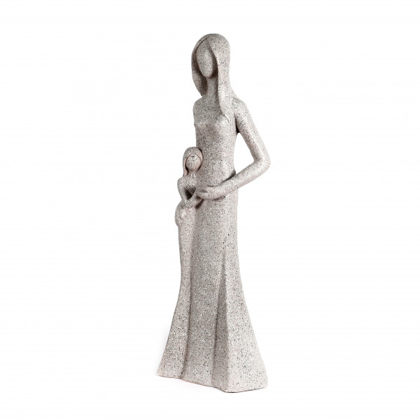 Magnesia Mutter stehend mit Kind im Arm,terrazzo grau,38x27xh.100cm