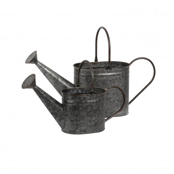 Zink Gießkanne Naxos Metall antik, mit großer Pflanzöffnung