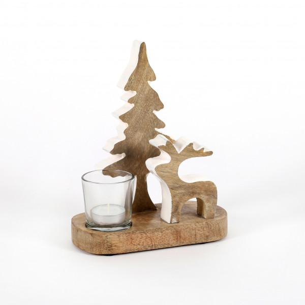 Windlicht Waldszene, Holz, natur-weiß 21x6x8 cm