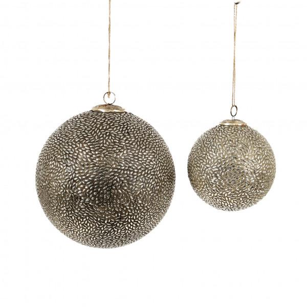 Dekokugel Madras Glas, grau-silber