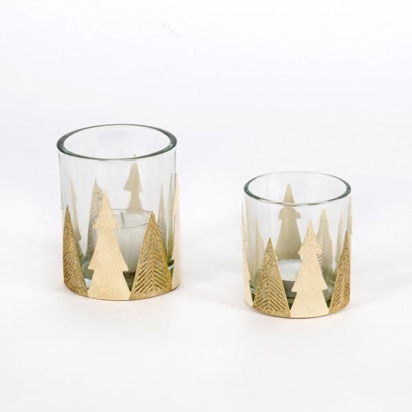Teelichtglas Baum Metall Glas