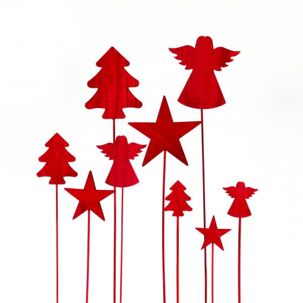 Holz Stecker Engel/Stern/Baum sort. rot