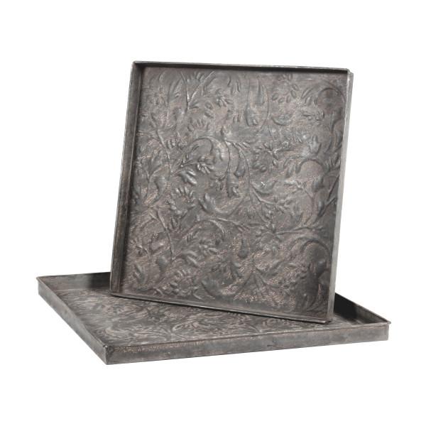 Tablett Shigatse Metall 47x47 cm grau antik