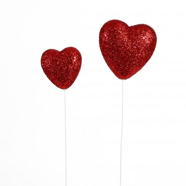 Herz am Stab, Glitter, Kunststoff rot