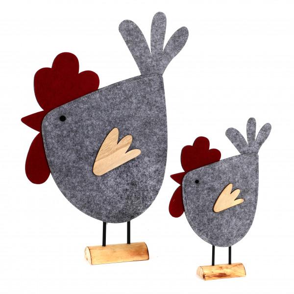 Huhn Lilo auf Holzbase,Filz