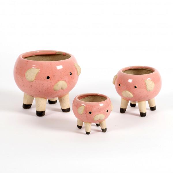 Keramik-Mini Pflanzschwein rosa glasiert auf 4 Füßen