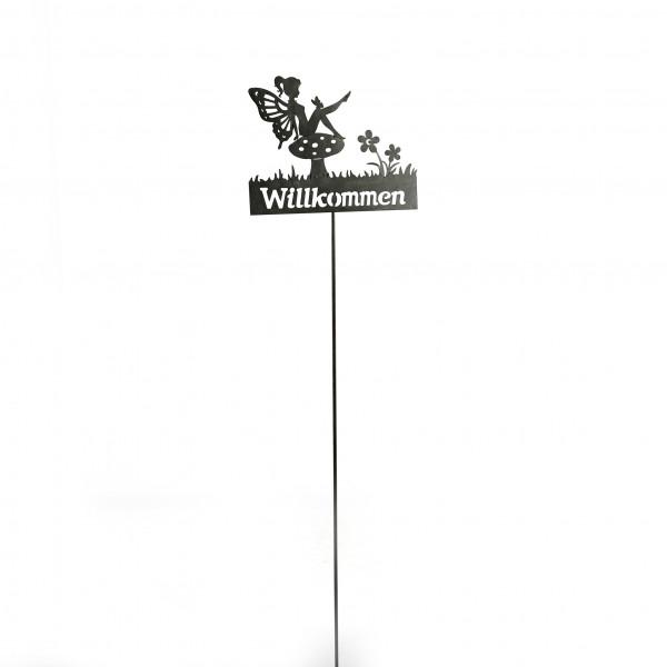 Gartenstecker Elfe Willkommen Metall, grau, 29x15x100 cm