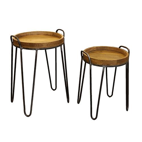 Hocker Holz-Metall, S/2 50x50x60/40x40x50 cm, natur-schwarz