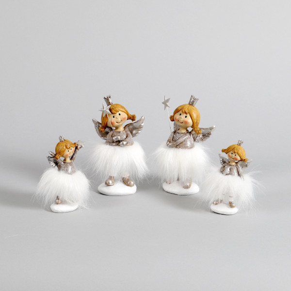 Poly Engel Kiku stehend, silber mit weißem Kleid, 2Mod sort