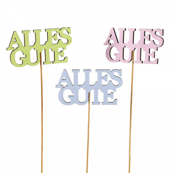 Stecker Alles Gute Holz, 3 Farb.sort. 12x30 cm