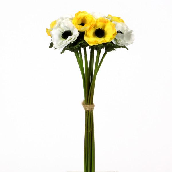Anemonenbündel x 12, 32 cm, weiss-gelb