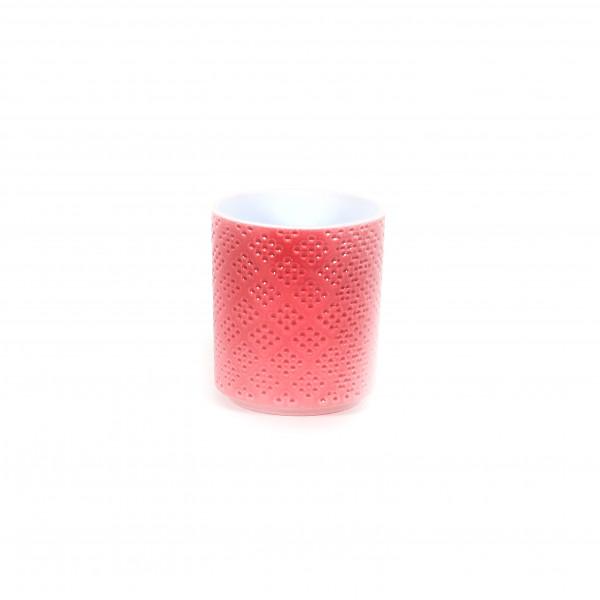 Zylinder-Orchideentopf Würfelstruktur 15cm, rosa Lasur