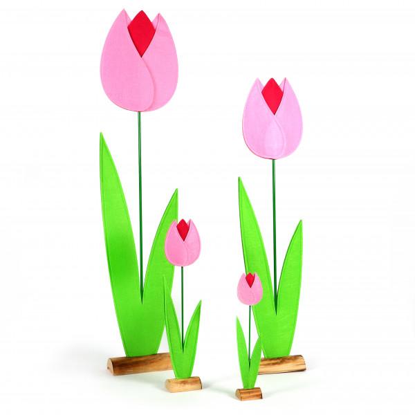 Tulpe, Filz auf Holzbase, rosa-pink