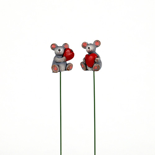 Poly Stecker, Maus m.rotem Herz 2 Mod.sort., 3,5x2,4 cm