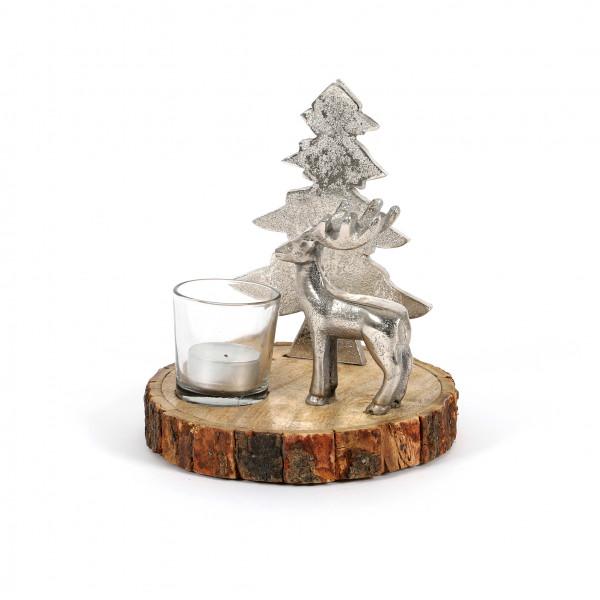 Windlicht Waldszene, Holz-Metall 17x15x15 cm